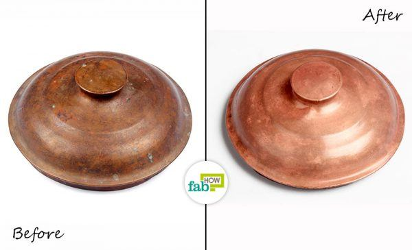 before after cleaning copperware