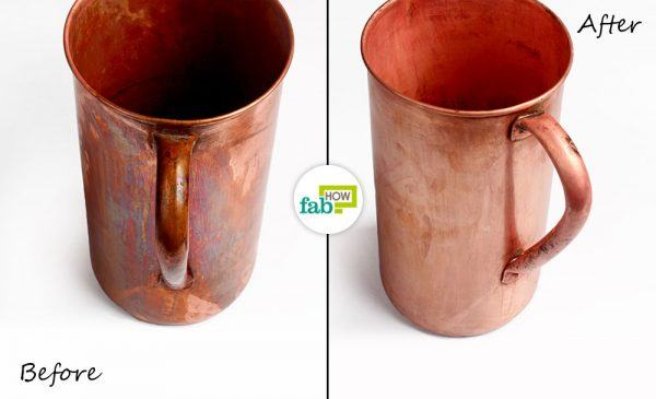 before after cleaning copper