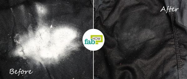 before after removing powdery deodorant stain from clothes