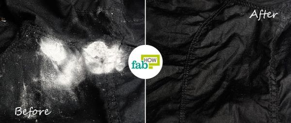 before after removing white powdery deodorant stain from clothes