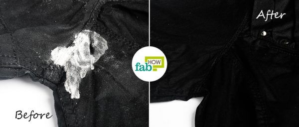 before after removing powdery stain from clothes