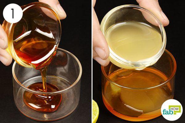 mix honey and lemon juice
