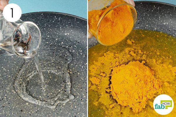 combine turmeric and water to make a paste