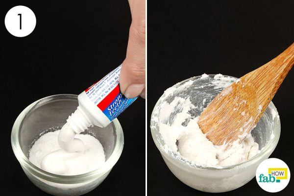 mix baking soda with toothpaste