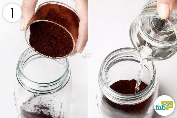 combine water and coffee grounds in a mason jar