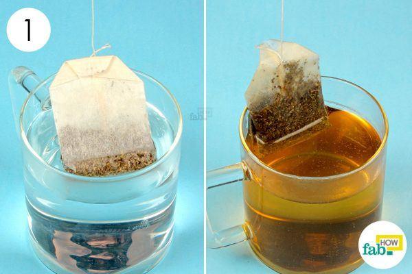 steep the black tea bag in hot water to get rid of pink eye