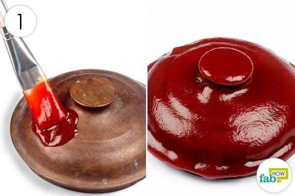 brush copperware with ketchup