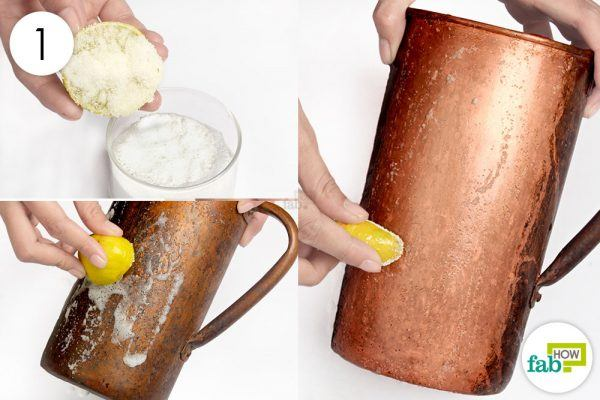 scrub copper with lemon and salt