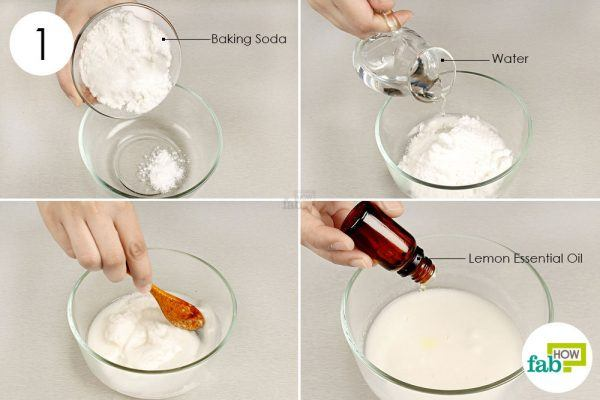 combine baking soda water and essential oil
