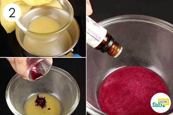 add beetroort juice and essential oil to make diy lip balm