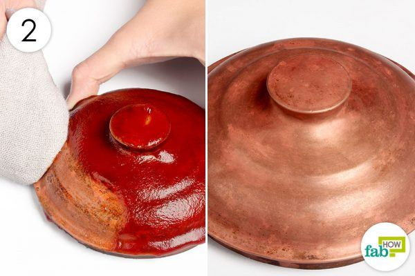 wipe the copperware clean with a towel
