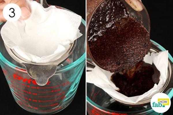 strain the coconut oil to make diy lip balm