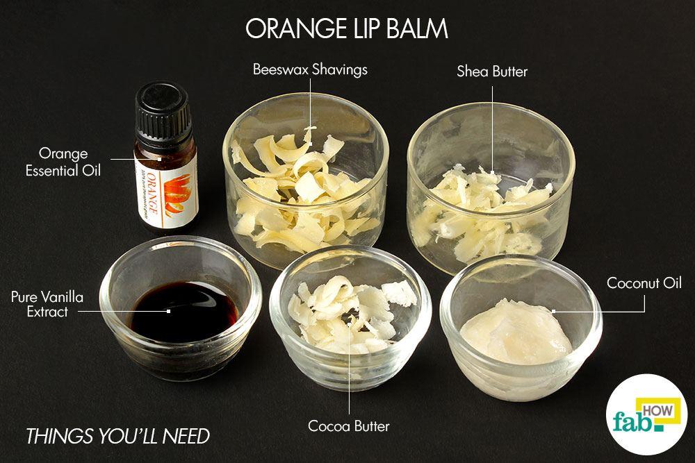 orange diy lip balm things need. Beeswax shavings – 1 tablespoon ...