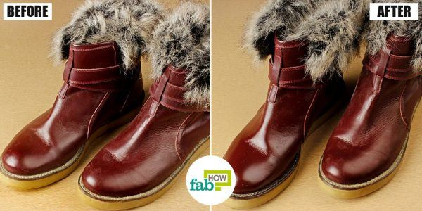 before and after cleaning leather boots uisng olive oil