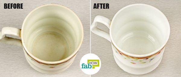 remove tea coffee stains from cups and mugs using bleach before after