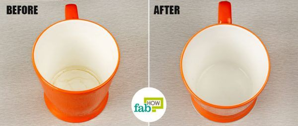 remove coffee tea stains from cups and mugs using dish soap before after
