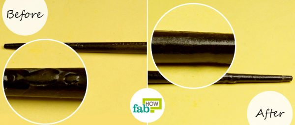 before and after removing superglue from plastic with vegetable oil