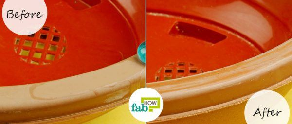 before and after removing superglue from plastic with white vinegar