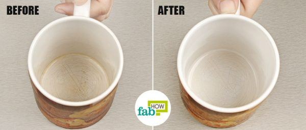 use magic eraser to clean stained mugs and cups