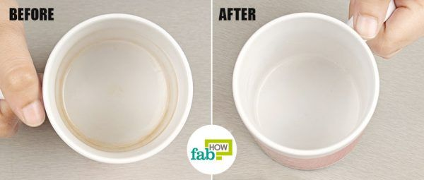 use baking soda to remove coffee and tea stains from mugs and cups
