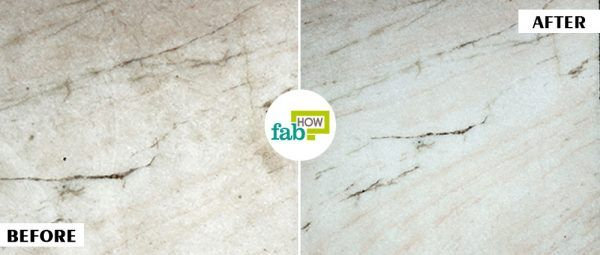 before and after using flour and dish soap to clean marble