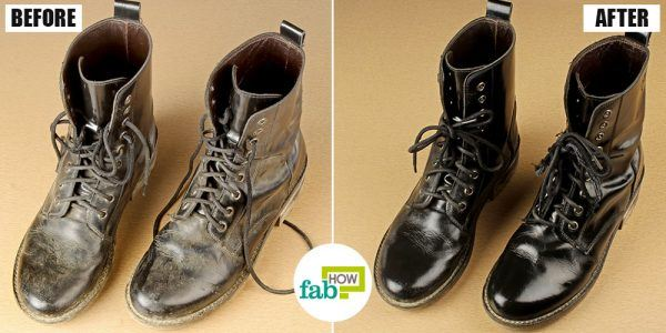 before and after cleaning boots with dish soap