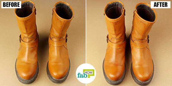 before and after cleaning boots with leave on hair conditioner