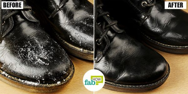 before and after cleaning boots with vinegar