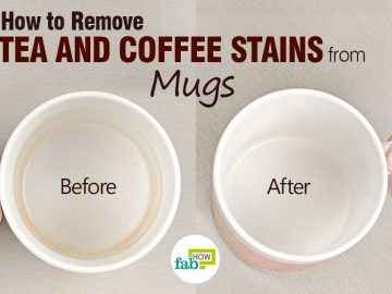 remove tea and coffee stains from mugs and cups