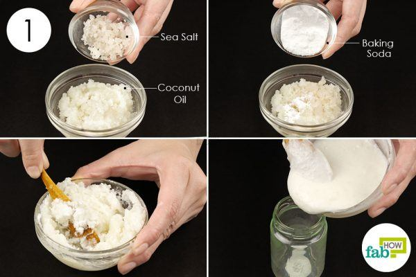 mix coconut oil, sea salt, baking soda to treat cavity