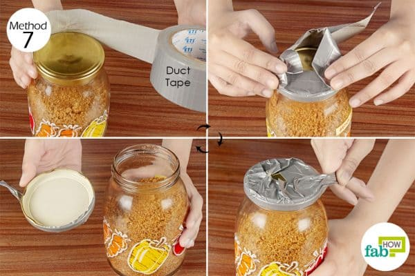 wrap the duct tape around the lid and pull it to open a stuck jar