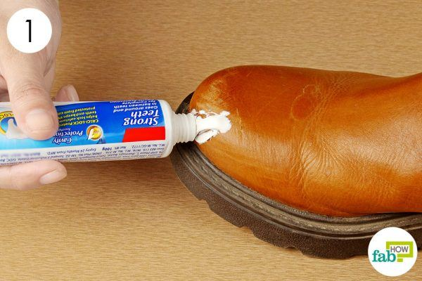 apply toothpaste on scuff marks on boots
