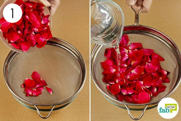 clean the rose petals to make rose petal jam