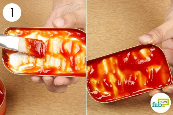 cover the aluminum with a layer of ketchup for cleaning