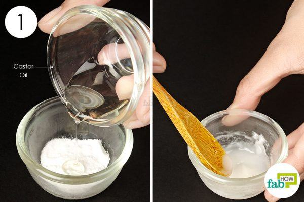 make a paste of baking soda and castor oil