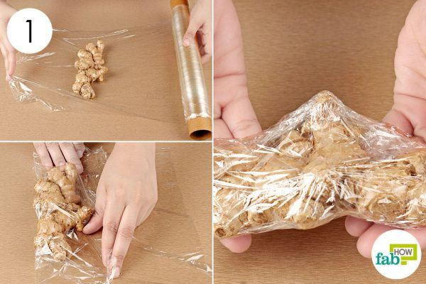 seal the ginger in plastic wrap