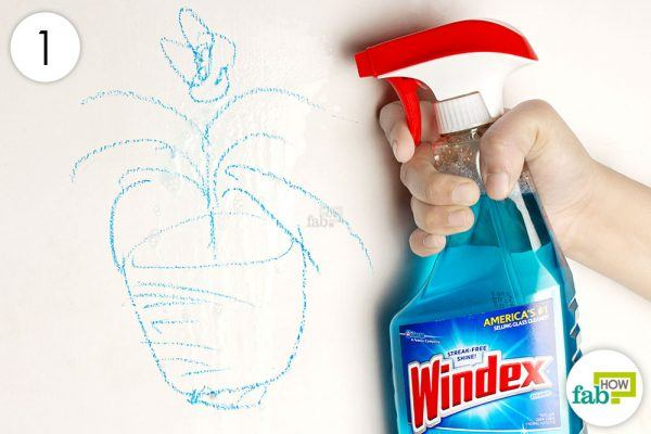 spray windex over the crayon markings