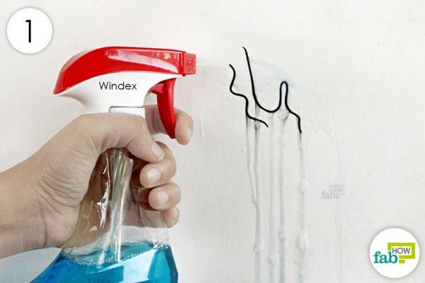spray windex on the stained area of wall to lift the stain