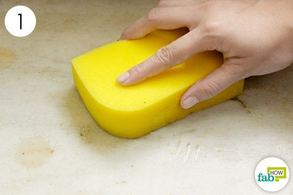 wipe with wet sponge to clean marble
