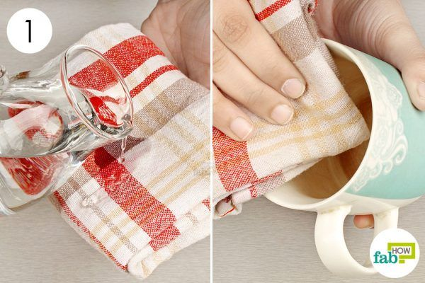 wipe the mug with a damp dish towel