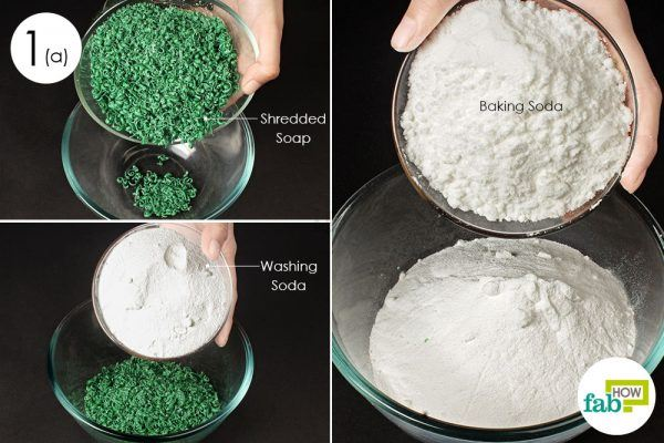 combine soap and powder ingredients to make powder laundry detergent