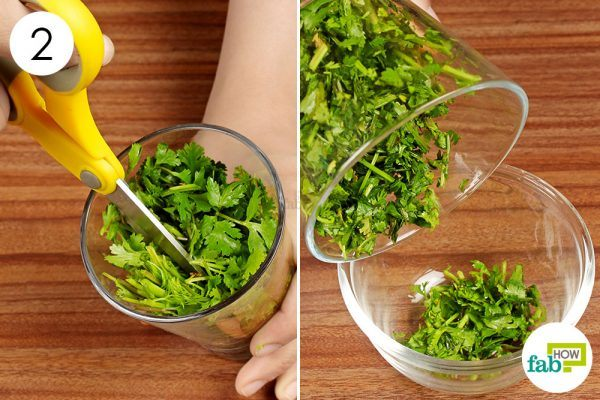 chop cilantro leaves in a glass with scissors