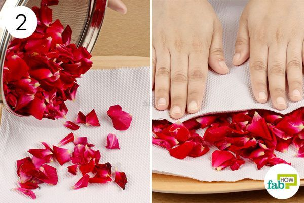 dry the rose petals to make rose petal jam