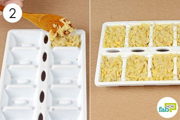 put the grated ginger in an ice cube tray