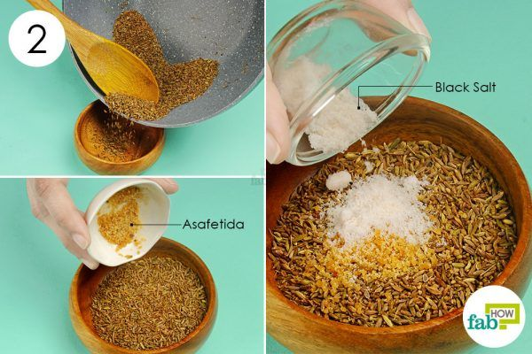 to treat indigestion add salt and asafetida to the mixture