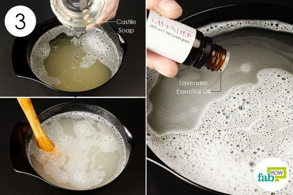 add castile soap and essential oil to make liquid laundry detergent
