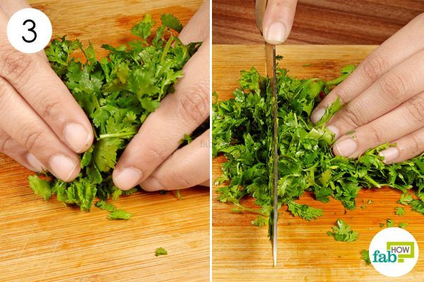 chop cilantro leaves with a knife