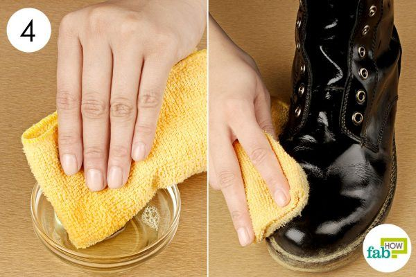 clean the boots with the solution