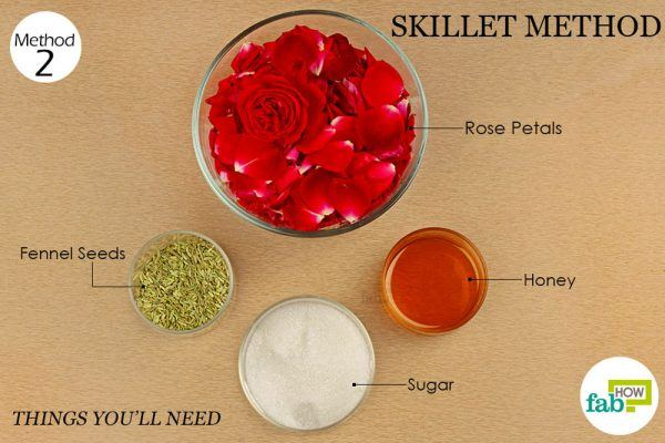 things you will need to make rose petal jam in skillet