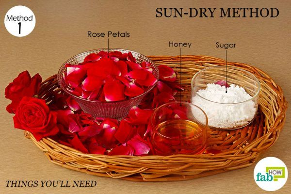 things you will need to make rose petal jam under sunlight